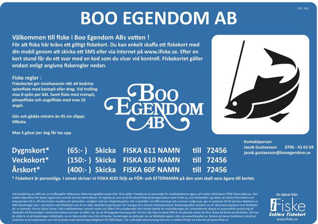 Fiskekort till Boo Egendom